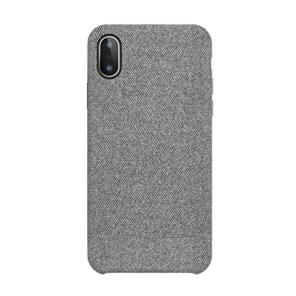 on sale feb53 68810 iPhone X Case, iPhone 10 Case Fabric Back Cover Protective Phone Case  Supports Wireless Charging for Apple iPhone X/iPhone 10 5.8 inch (2018) -  Grey