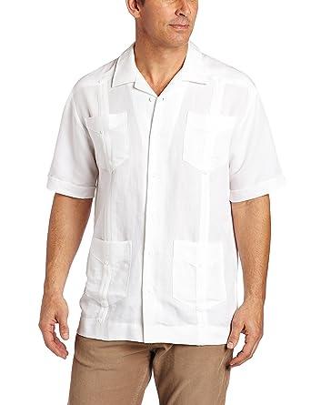 Cubavera Mens Short Sleeve Traditional Guayabera Shirt, Bright White, Small