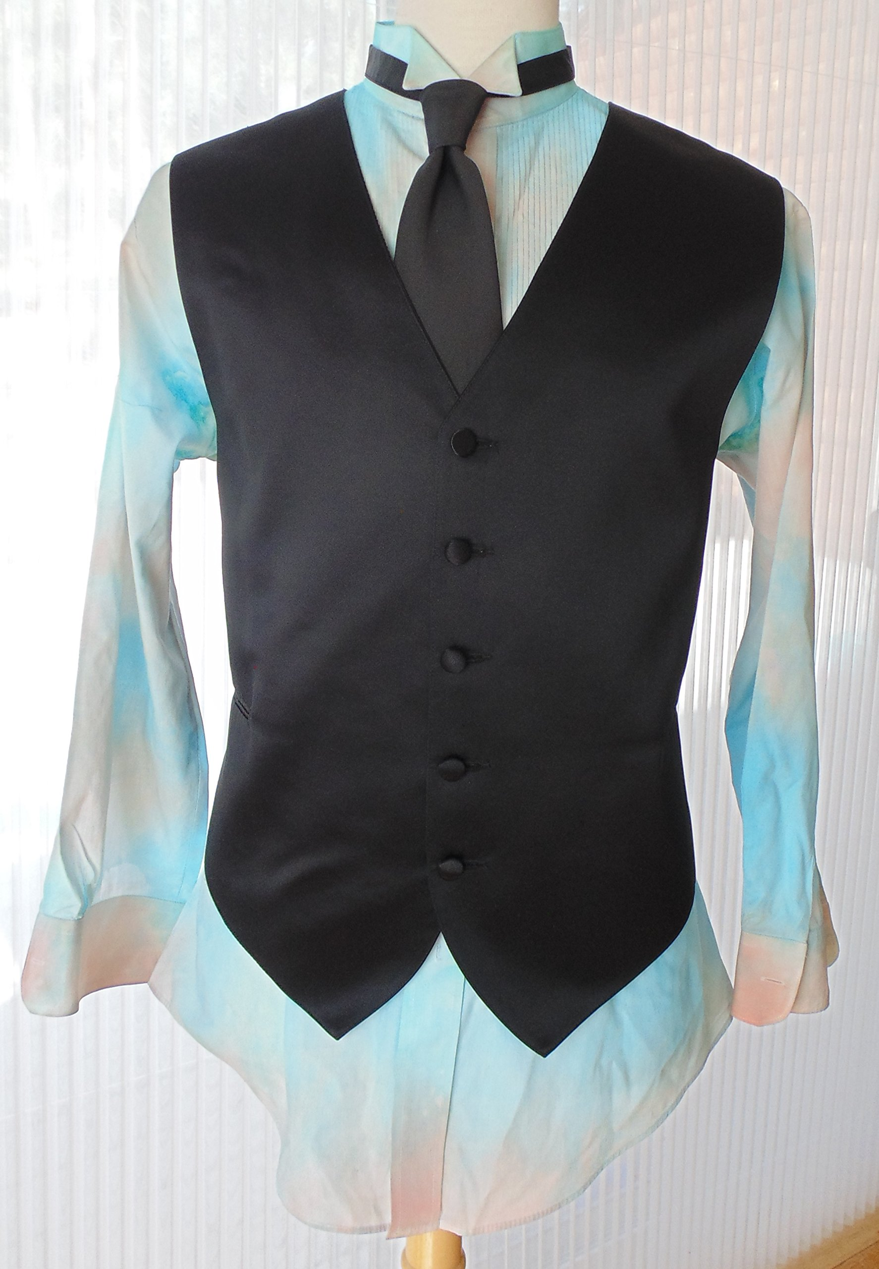 Men's L 32-33 Hand Tie Dye Tuxedo Shirt in Shade of Water Color Blue and Sherbet Orange