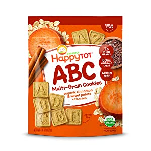 Happy Tot Organic Super Smart Multi-Grain Alphabet Toddler Snacks Cinnamon Sweet Potato Plus Flaxseed, 4.4 Ounce Bag (Pack of 8) Multi-Grain Gluten-Free Alphabet Snack for Toddlers