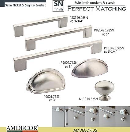 Amdecor Satin Nickel Brushed Cabinet Pull Handle Knob Hardware Designer  Highend (N11014.32SN :