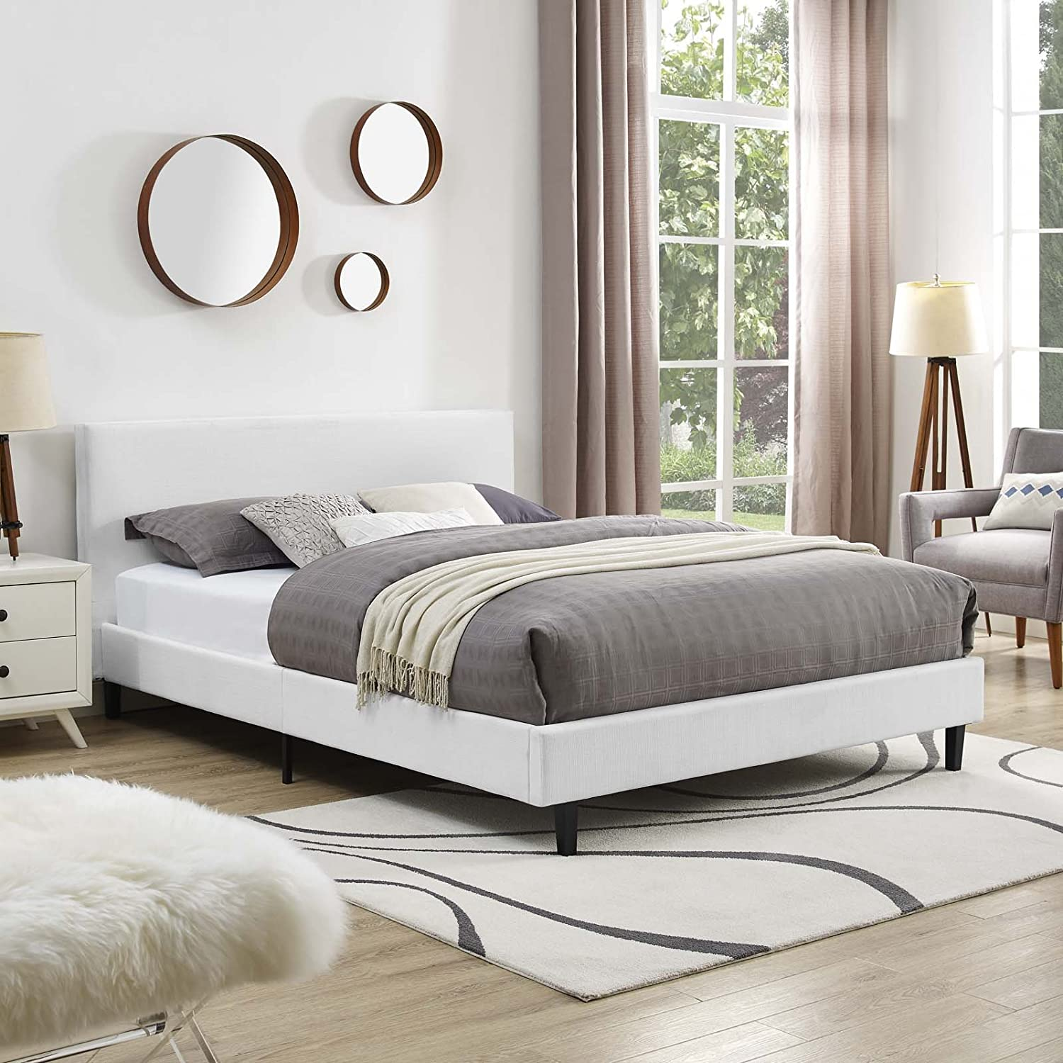 Modway Anya Upholstered White Platform Bed with Wood Slat Support in Full