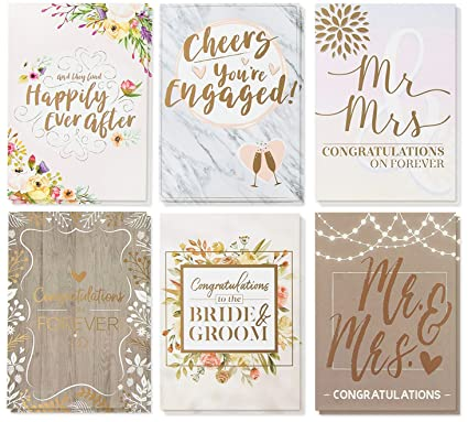 Wedding Greeting Cards.Wedding Greeting Cards 36 Pack 6 Rustic Designs Bulk Greeting Cards And Envelopes For Wedding Engagement Bridal Shower Congratulations To