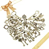 KING DO WAY Pack Of 70 Antique Bronze Mixed Skeleton Keys Charm Pendants Set Fancy Heart Bow Charm Pendants Handmade Accessories for DIY Jewelry Making and Crafting Bronze