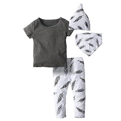 0e887f5c44ae BIG ELEPHANT Baby Boys 4 Piece Short Sleeve Shirt Pants Clothing Set With  Hat and