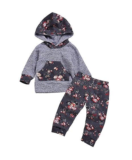 3e8bf4738 Amazon.com: IWOKA 2pcs Baby Boys Girls Hoodie Pocket T-Shirt Top Flower Long  Pants Christmas Clothes: Clothing