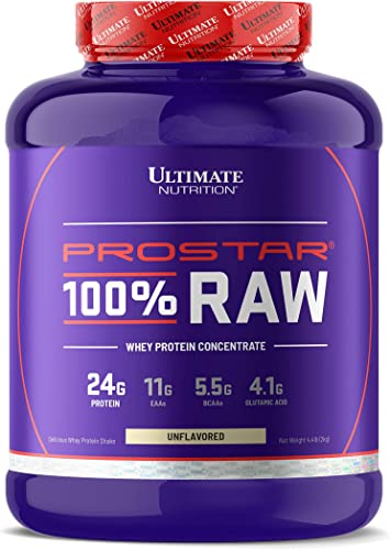 Ultimate Nutrition Prostar 100 Raw Natural Unflavored Whey Protein Powder with 24 Grams of Protein with No Artificial Sweeteners, 67 Servings