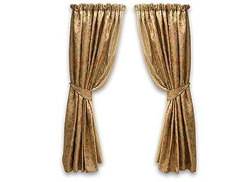 Belledorm Antique Gold Jacquard & Floral Pattern Curtains 66 Inch ...
