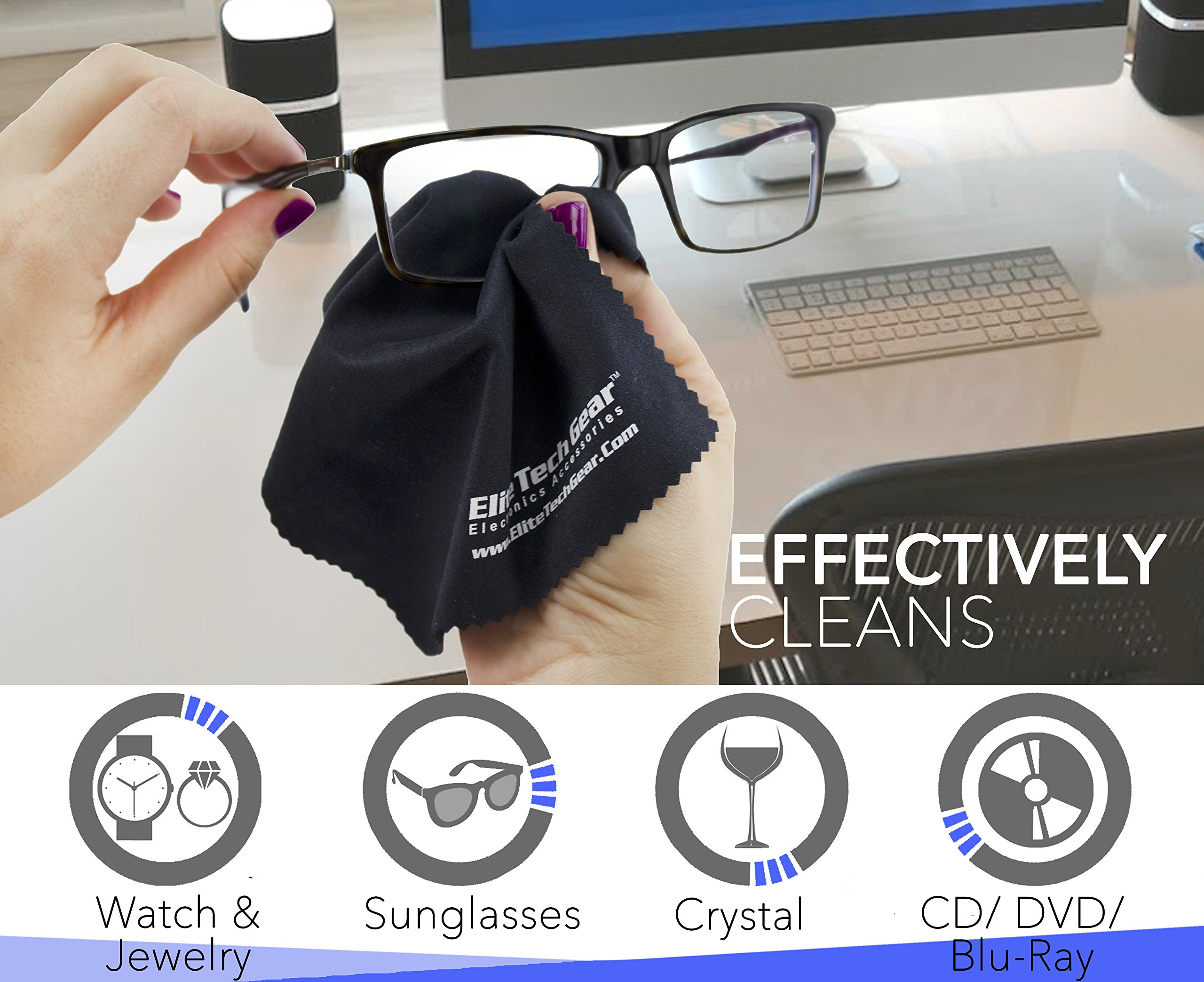 "The Most Amazing Microfiber Cleaning Cloths (13 Pack). Perfect For Cleaning All Electronic Device Screens, Eyeglasses, Tablets & Other Delicate Surfaces (12 Large 6''x7"" & 1 Oversized 12''x12"") by Elite Tech Gear (Image #3)"