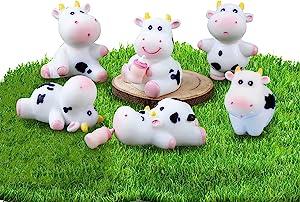 8 pcs Mini Cow Figurine for Kids Fairy Garden Ornament Miniature Cute Animal Set Dollhouse Accessories Animal Cake Toppers Farm Animal Model Micro Landscape Accessories