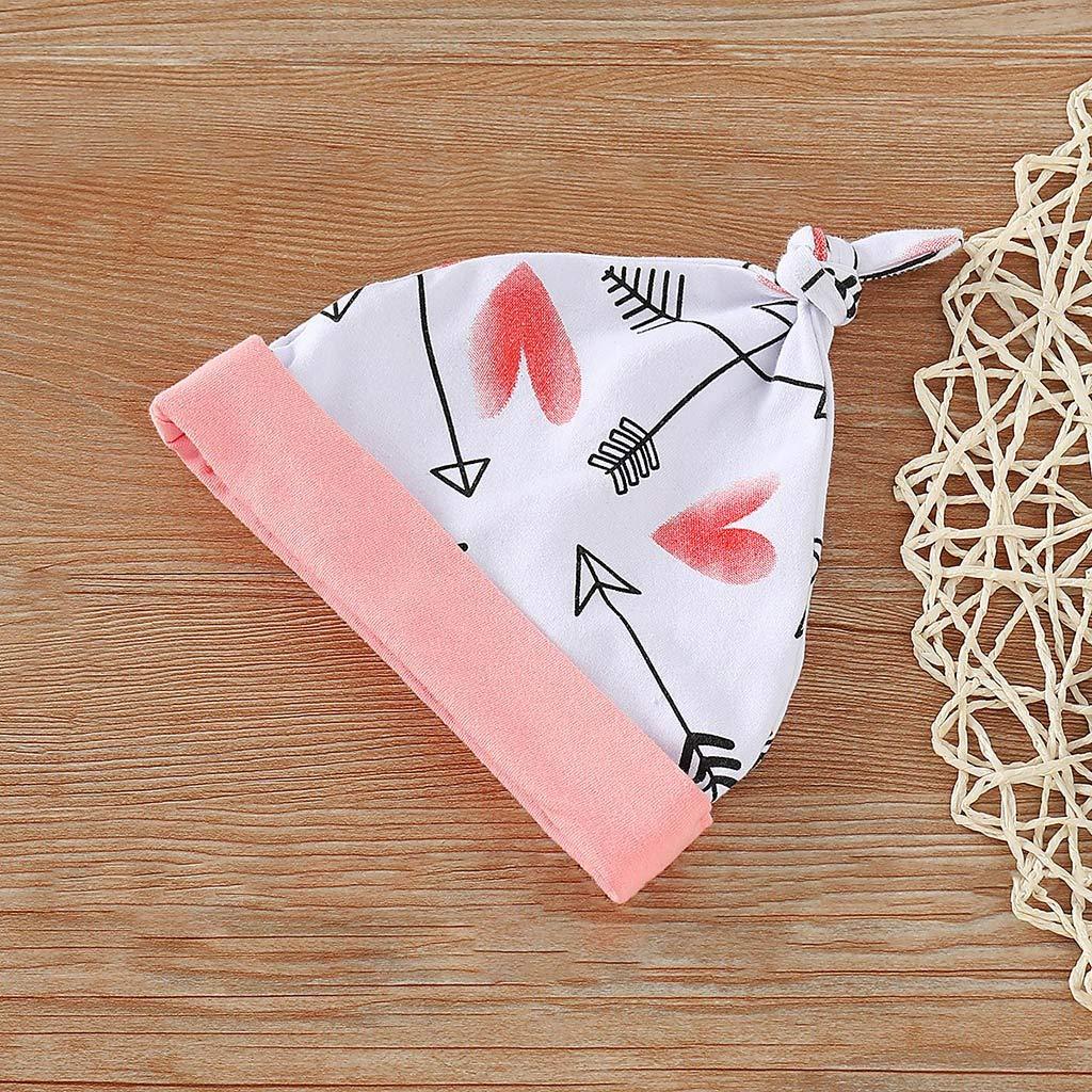 Letter Romper+Heart Print Pants+Hat+Headbands Suit 4Piece Toddler Infant Baby Girl Boy Valentines Outfits Set
