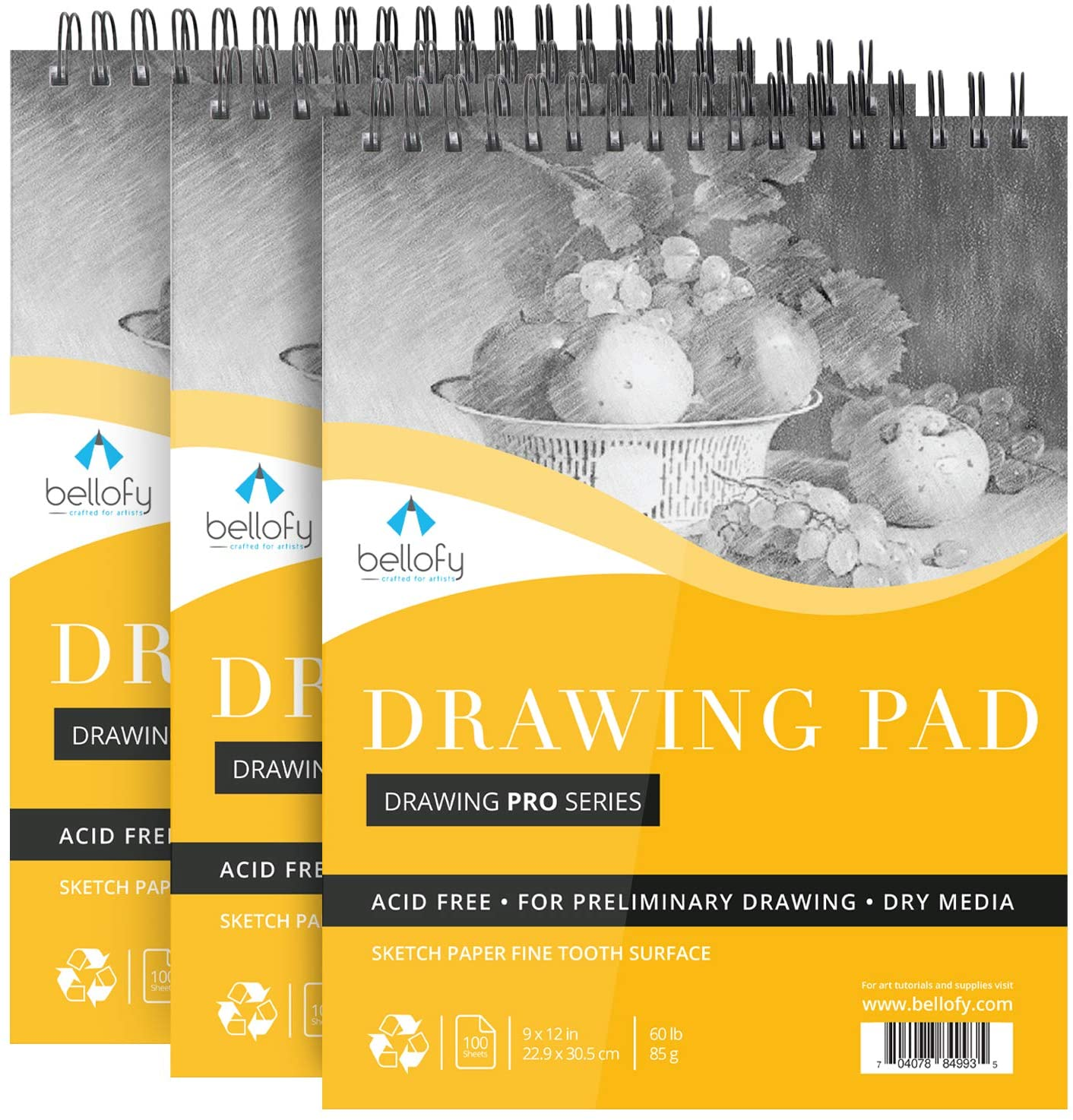"""Bellofy 3 x Drawing Paper Pads 9"""" x 12""""   300 Sheets   60lbs 85g   Acid Free Sketchbook Paper for Dry Media   Top Spiral Bound Sketchpad for Kids, Beginners, Artists & Professionals: Arts, Crafts & Sewing"""