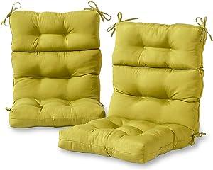 Greendale Home Fashions AZ6809S2-KIWI Lime Outdoor High Back Chair Cushion (Set of 2)
