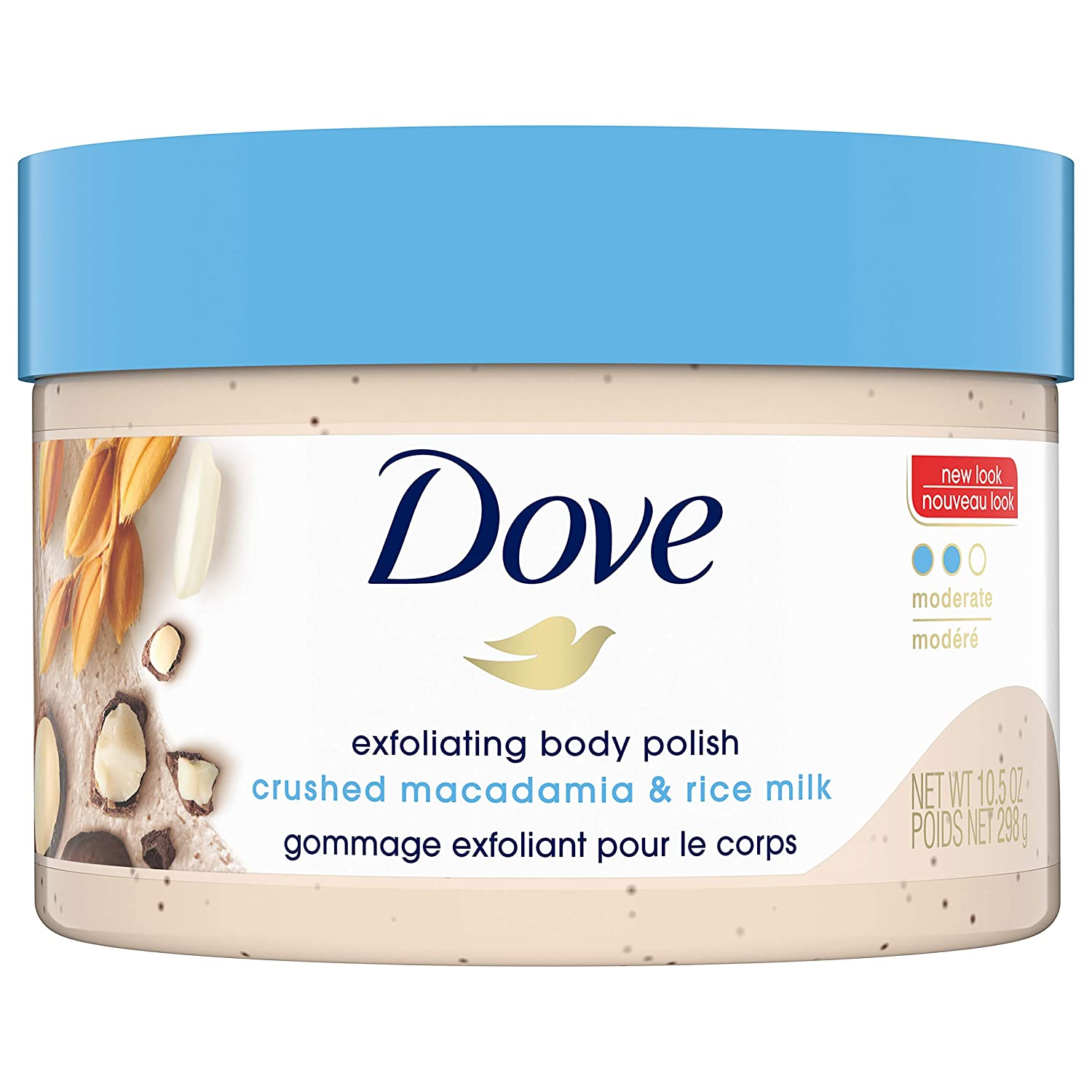 Dove Exfoliating Body Polish Body Scrub To Help Revive Dry, Dull Skin Macadamia & Rice Milk Polishes and Nourishes Your Skin 10.5 oz : Beauty