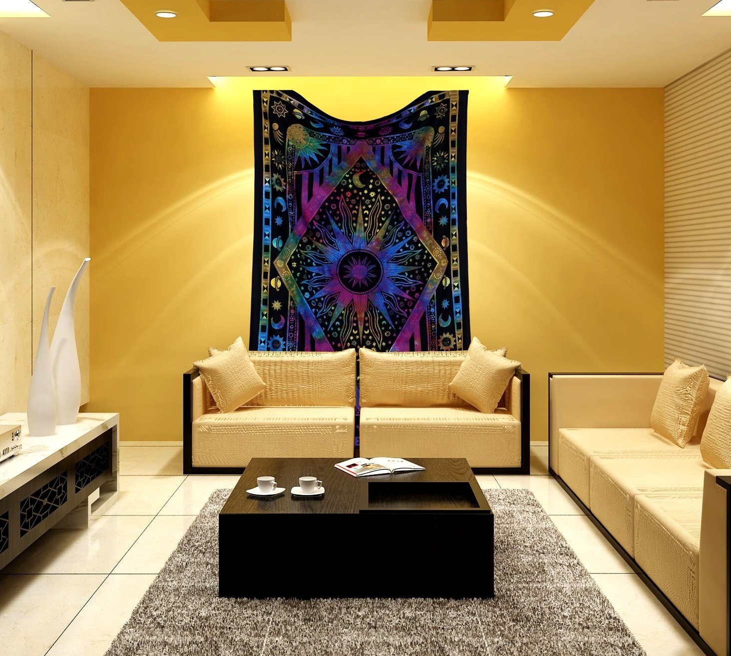 Amazon.com: Psychedelic Celestial Sun Moon tapestry Planet Bohemian ...