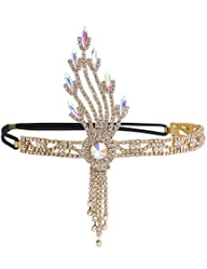 BABEYOND 1920s Flapper Headband Great Gatsby Inspired Art Deco Headpiece Vintage 20s Flapper Gatsby Hair Accessories (Style5-gold)