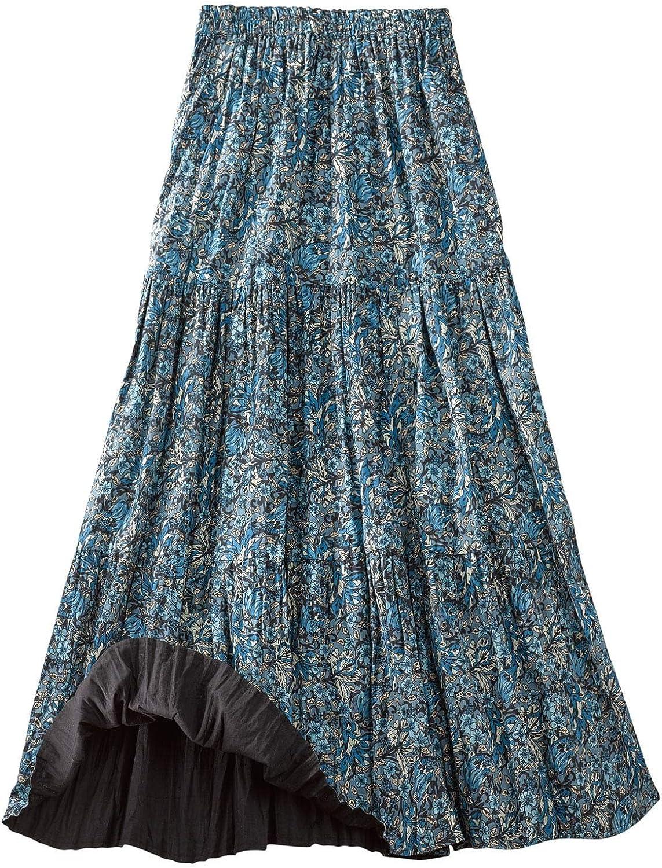 CATALOG CLASSICS Women's Reversible Broomstick Skirt - Blue Lagoon Paisley Print Reverse to Black