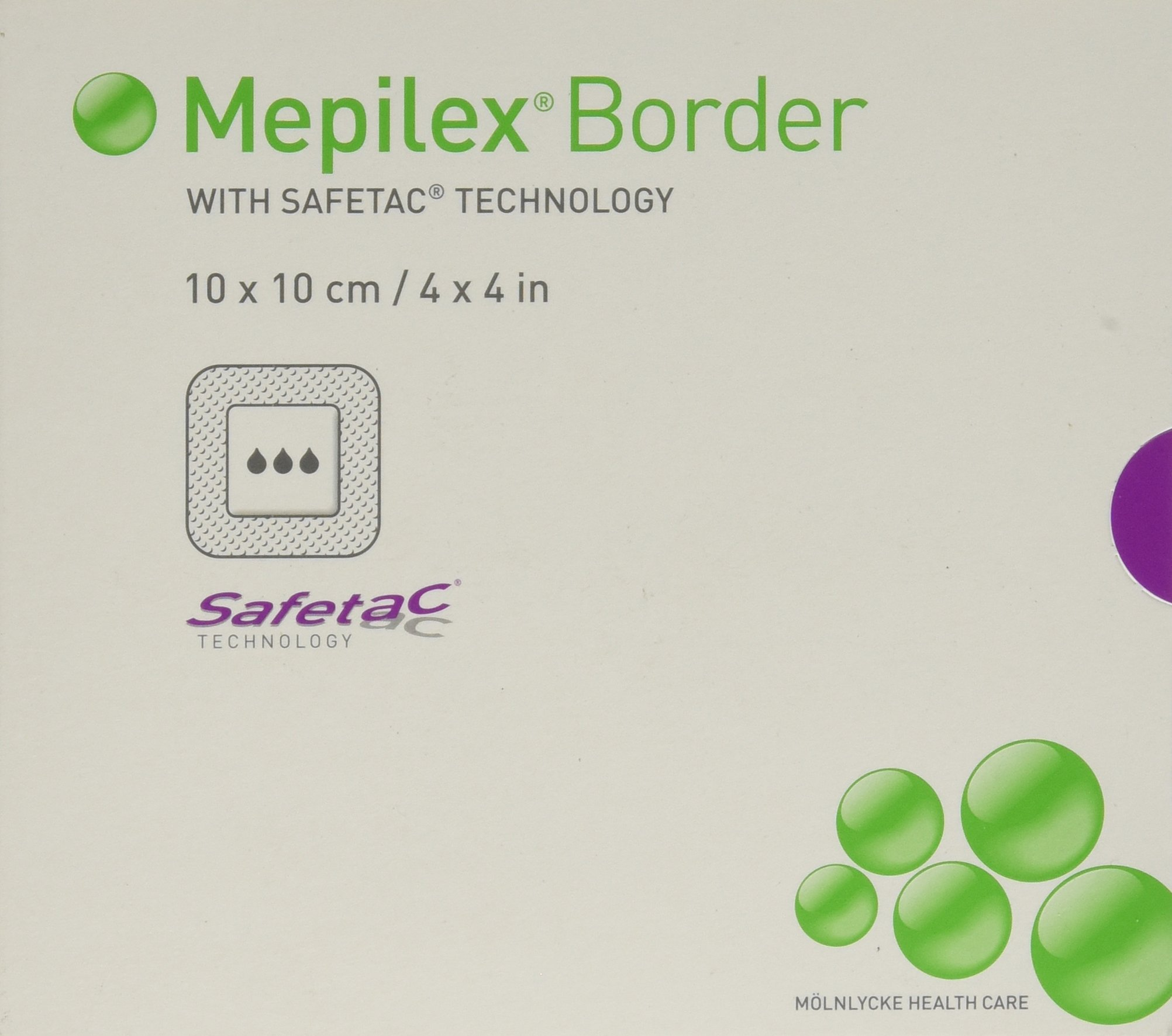Mepilex Border Self-Adhesive Foam Dressings 4''x4'', Box of 5