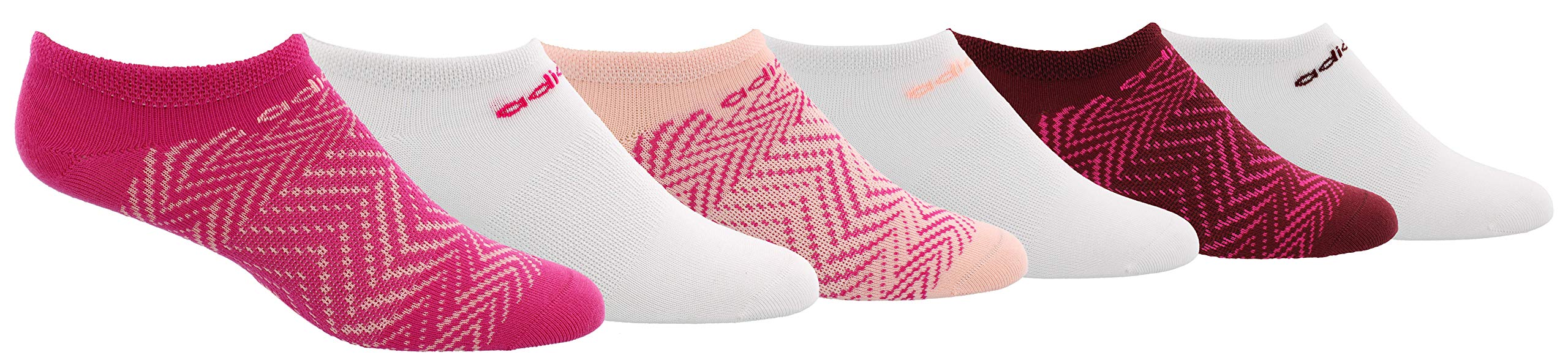adidas Youth Kids-Girl's Superlite No Show Socks (6 Pair), Shock Pink/ Clear Orange/ Noble Maroon, Large, (Shoe Size 3Y-9) by adidas