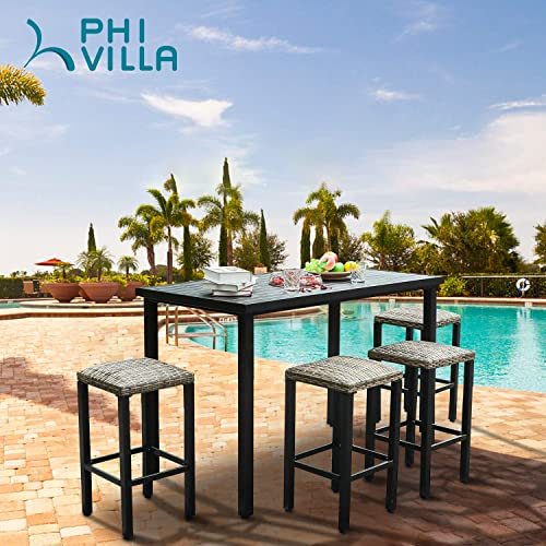PHI VILLA 5 Piece Patio Bar Set