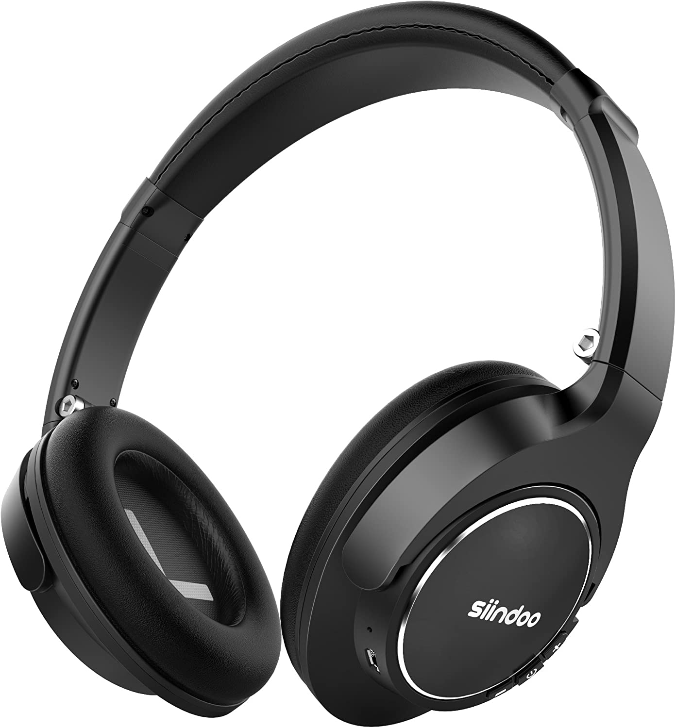 Siindoo JH-803 Bluetooth Over Ear Headphones, Wireless Headset with 20H Playback, HiFi Sound and Protein Ear Muffs Comfortable Headphones w/Mic Compatible with Smartphone/Tablets/Desktop (Black)