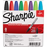 Sharpie Permanent Markers, Fine Point, Classic Colors, 8 Count