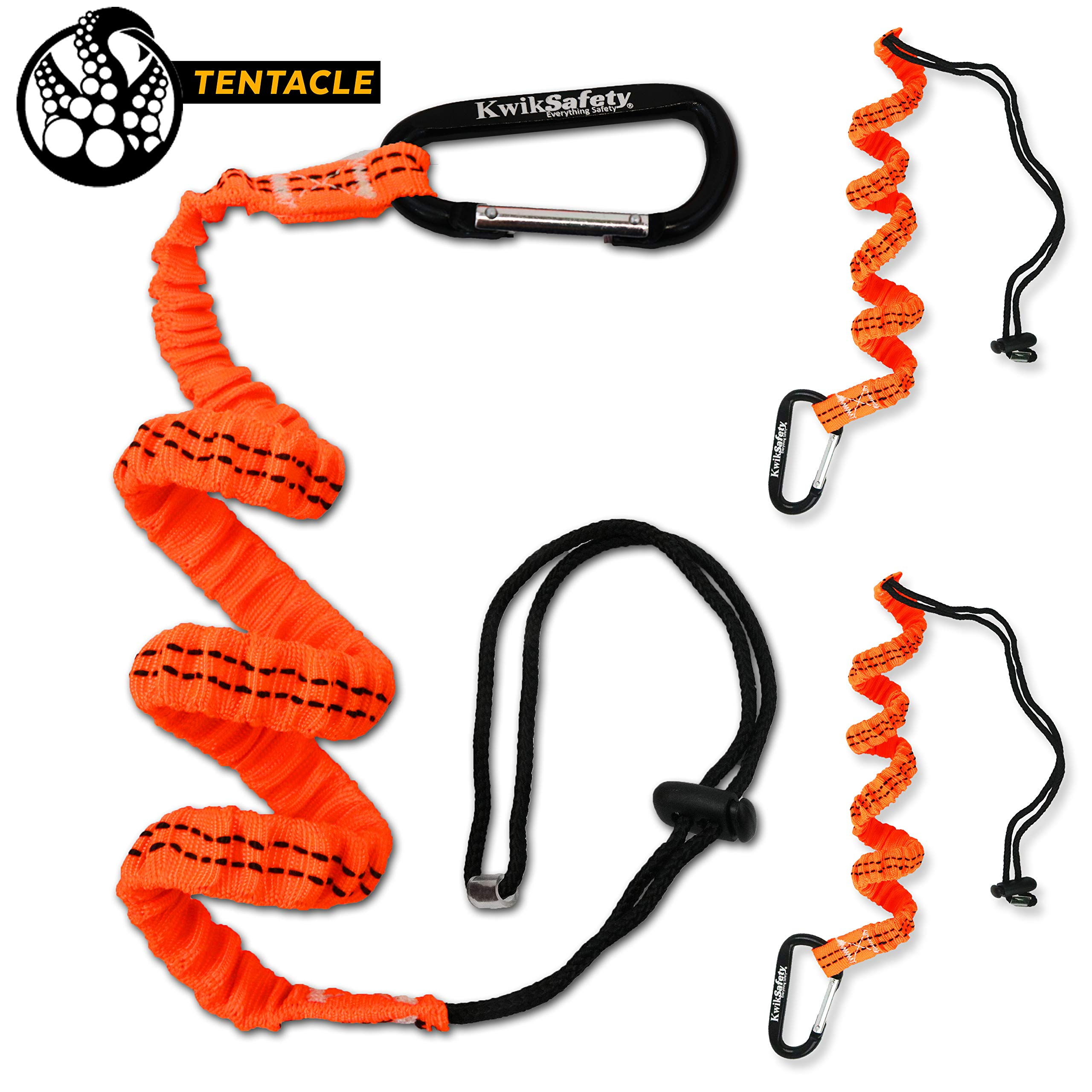 KwikSafety (Charlotte, NC) TENTACLE (3 PACK) Light Duty Tool Lanyard with Aluminum Carabineer Clip Coiled Retractable Bungee Cord with Loop & Adjustable Lock Fall Protection | 20 lb Working Limit