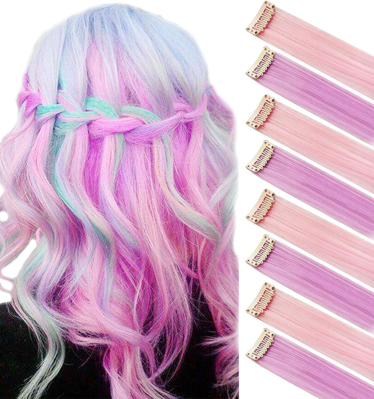 8 piezas de color rosa trullo haiepieces princesa diversión destaca la extensión del cabello de color traje de postizos para bebés/muñecas
