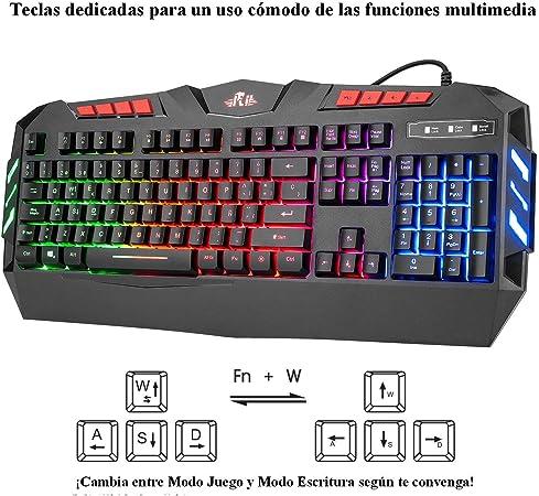 Rii RK900+ Teclado Gaming con sensibilidad mecánica Completo,Combo de Teclado y ratón con Cable,Diseño Gaming Multicolor retroiluminado,Especial para ...