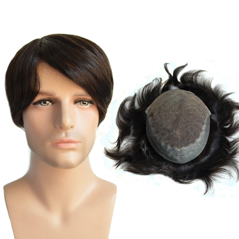 AIRAO Toupee Hairpiece Remplacement Hommes Perruques Swiss Lace et PU - Indien Humain Vierge Cheveux Extension Libre Enchevêtrement # 1B (Off Black)