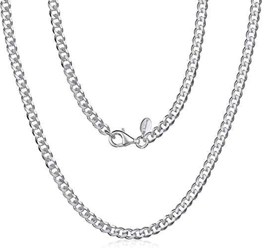 """925 Sterling Silver Unisex Curb Cuban Link Chain 16/"""" 18/"""" 20/"""" 22/"""" 24/"""" 26/"""" 28/"""" 30/"""""""