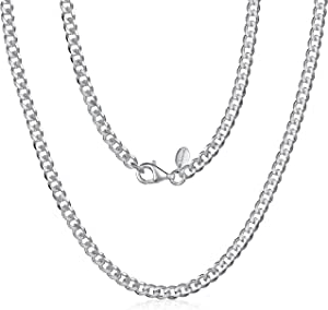 925 Sterling Silver Necklace for Men - Flat Cuban Curb Chain 3.7 mm Thick