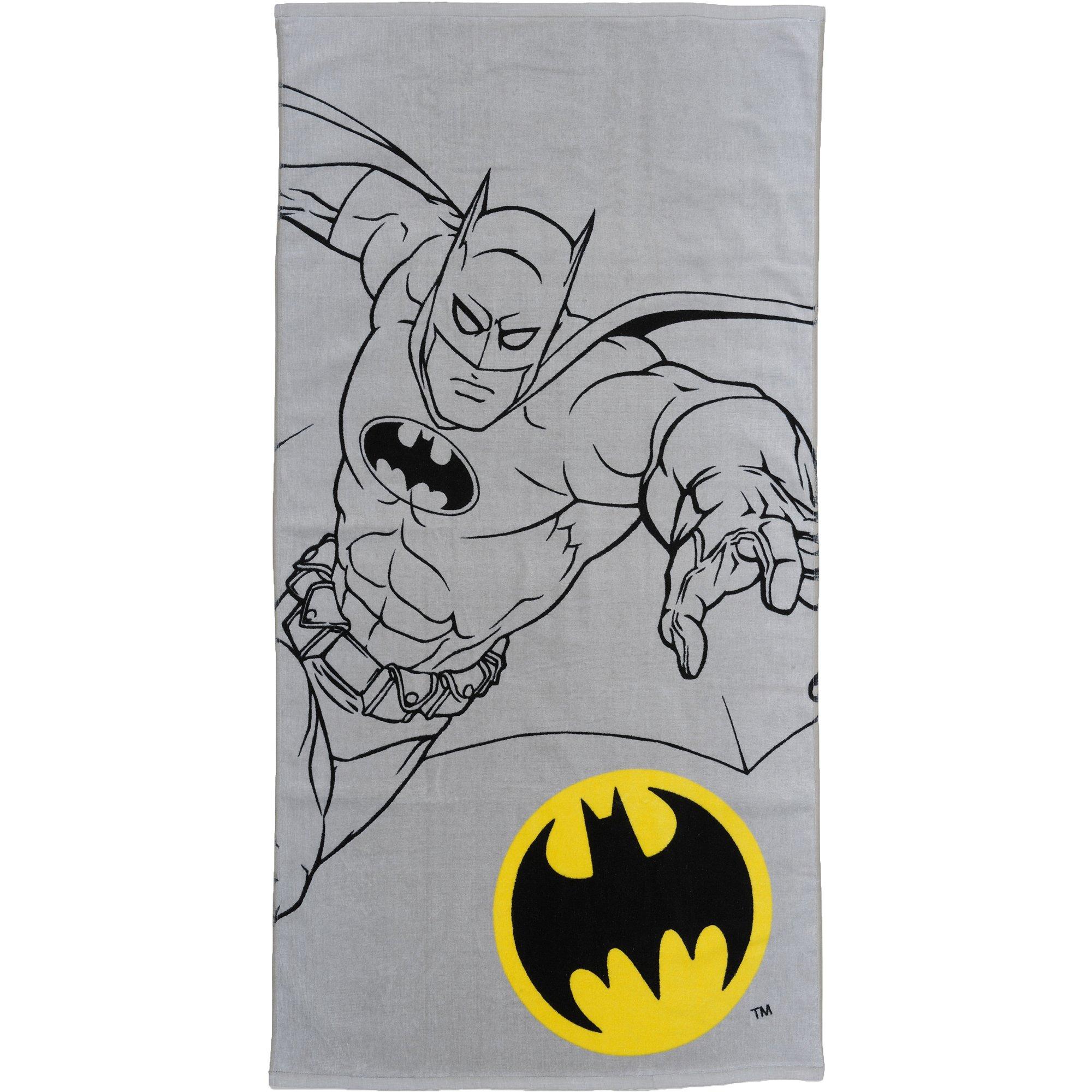 Batman Bathroom Set - Includes Shower Curtain, Hooks, Foam Bath Rug, Wastebasket, and Bath Towel
