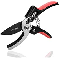 "gonicc 8"" Professional SK-5 Steel Blade Anvil Pruning Shears(GPPS-1010), Cushion and Shock Absorber Design, Ergonomically Design Handle."