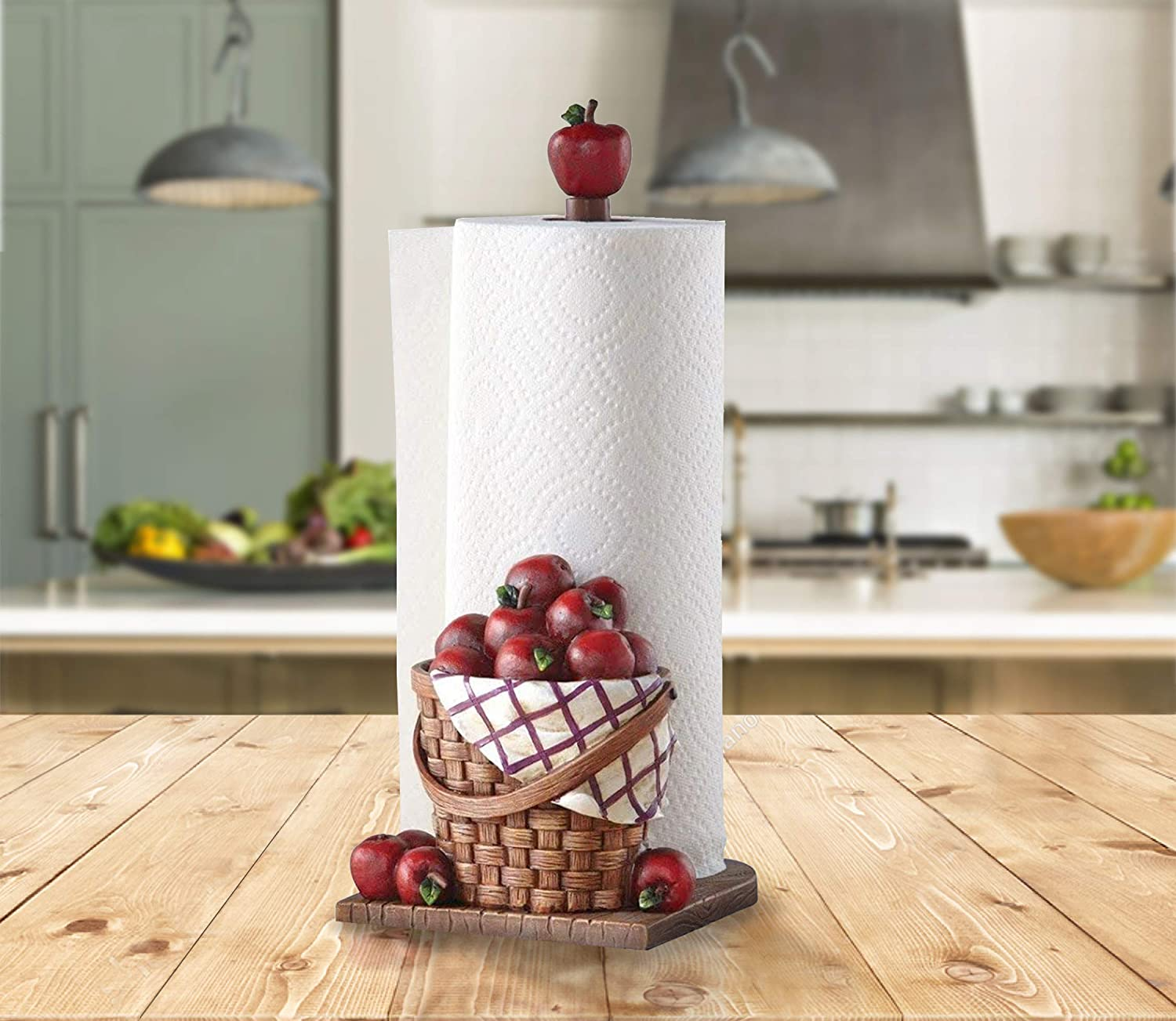 Decorate Your Kitchen With An Elegant Hand Painted Paper Towel Holder (Red Apple Basket)