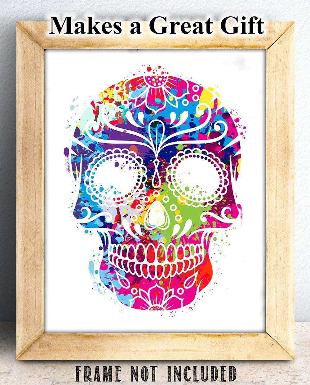 Amazon.com: Watercolor Sugar Skull - 11x14 Unframed Art Print ...