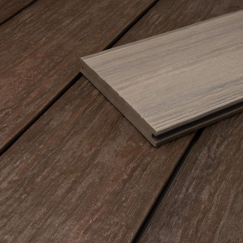 1 Muster I Muster Dielenl/änge HORI/® WPC-Terrassendiele coextrudiert massiv braun grau Hohlkammer I Komplettset inkl 40x60 mm Unterkonstruktion /& Clips I Fl/äche