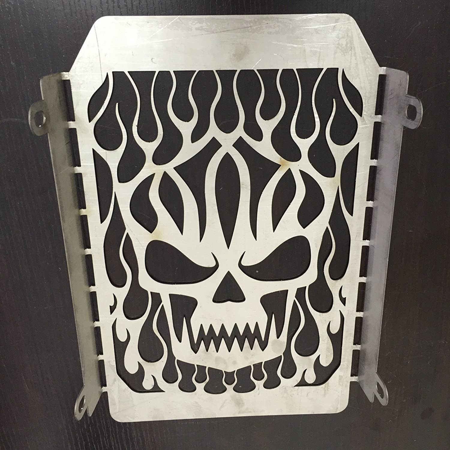 NBX-Chrome Skull Flame Radiator Grille Cover Stainless For Compatible with Kawasaki Vulcan VN 1500