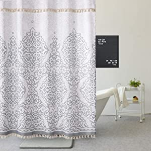 Uphome Tassel Shower Curtain Gray Damask Print Floral Fabric Shower Curtain with Fringe Trims Vintage Boho Chic Bathroom Decor Waterproof and Heavy Duty, 72 x 72