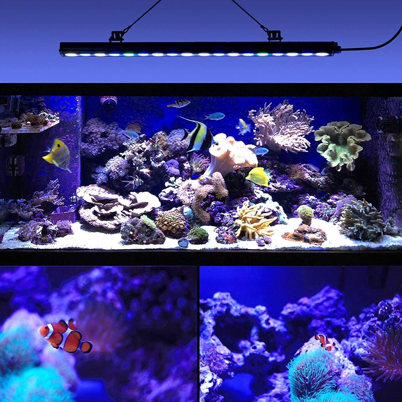 Roleadro® Led Acuario 54w,18 LEDs Lampara Acuario UV con Luz LED Acuario 55CM,Iluminacion Acuario Marino Para Acuario Arrecife Coral Pescado Planta Crecer ...