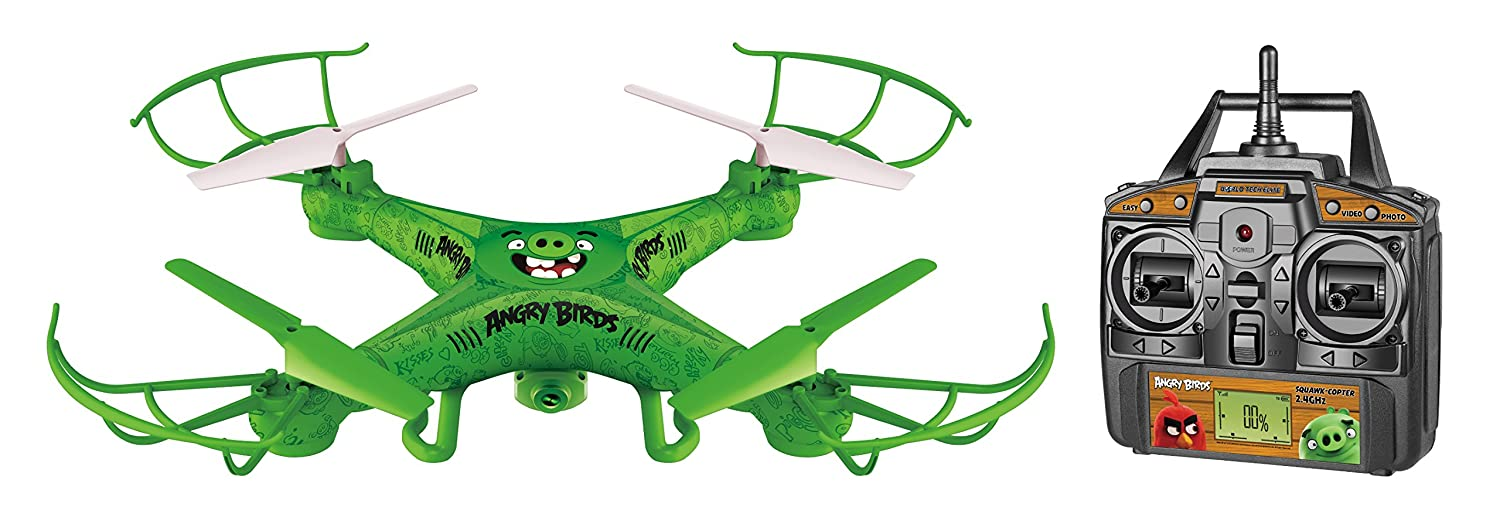 World Tech Toys Angry Birds Licensed Squak Copter The Pigs Camera Drone 2.4GHz 4.5 Channel Picture//Video Camera RC Quadcopter Green 22 x 4 x 14.5 33795