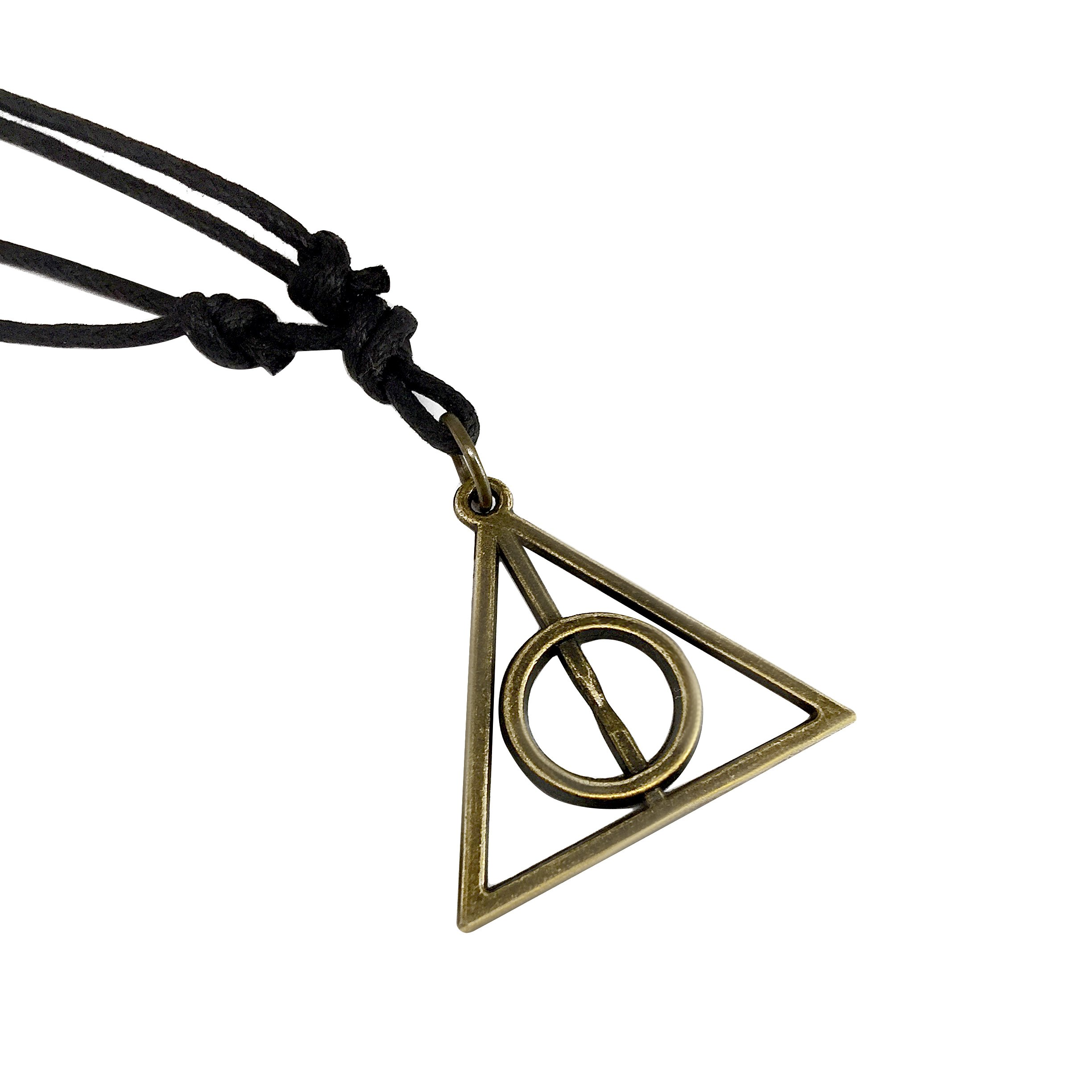 Adeley Mens Womens Harry Potter Deathly Hallows Inspired Brass Charm Adjustable Necklace