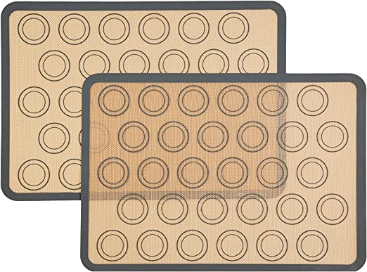Silicone Baking Mats Set of 3 Two Half and One Quarter Non Stick Sheet Mat Bread and Pastry Large BPA Free Professional Grade Liner Sheets Perfect Bakeware for Making Cookies Macarons