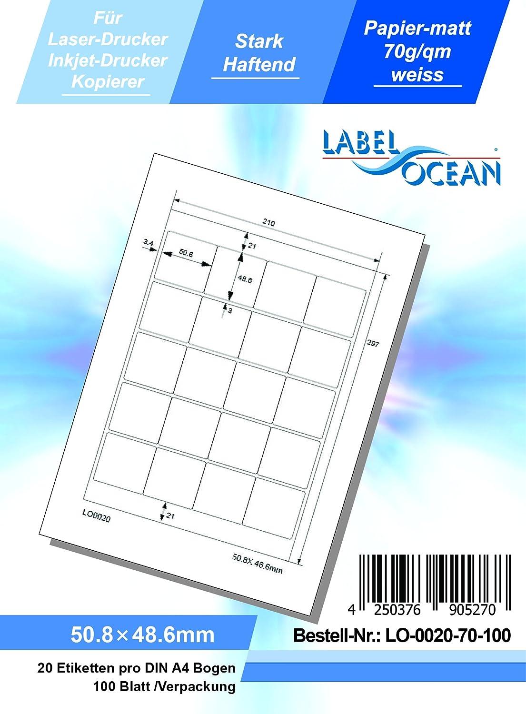 Hochwertiges Papier LabelOcean LO-0020-70-100 Universal Etiketten 100 Blatt 70g//qm