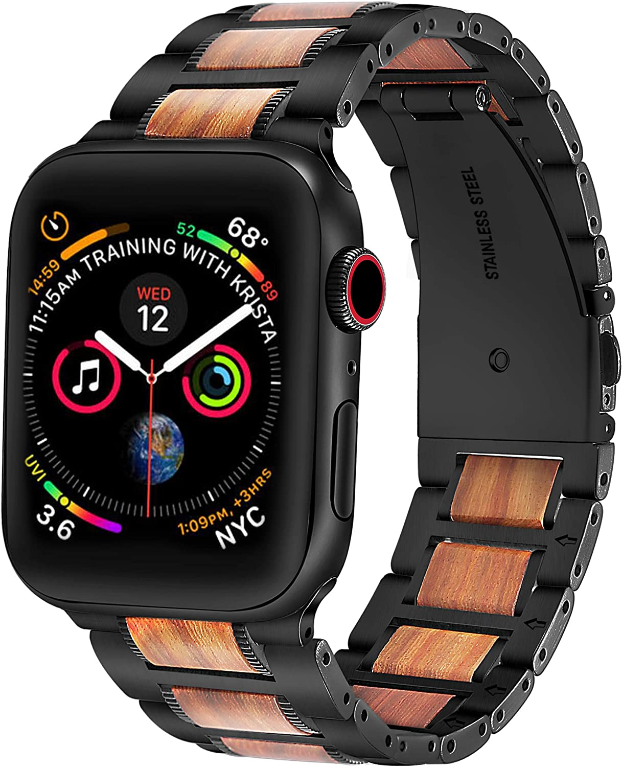 Compatible with Apple Watch Band 42mm 44mm,DMMG Wood Metal Natural Genuine Purple Sandalwood with Stainless Steel Metal Clasp Replacement iwatch Band Compatible Apple Watch Series6 5 4 3 2 1 SE(Black)