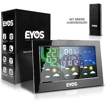 EYOS Estación meteorológica Sensor Exterior - Digital termómetro y higrómetro - para Interior/Exterior de Temperatura/Reloj Tiempo/Humedad/Fase Lunar: ...