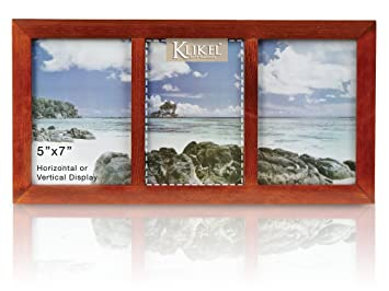 Amazoncom Klikel Photo Collage Frame Walnut Brown Wooden Wall