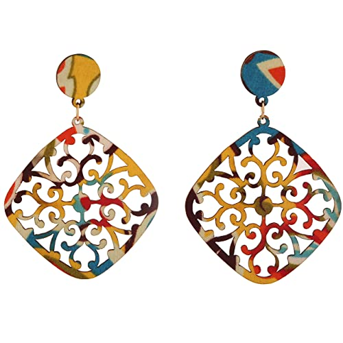 7ee2737e1 Buy DIY fabric   wood Multicoloured artificial fashion Earring fabric  earrings Online at Low Prices in India