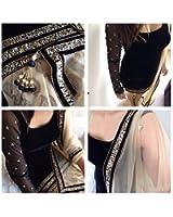 Clothfab Black Velvet Women's Semi-Stitched Salwar Suit Set (Velvet-Black1_Free Size)