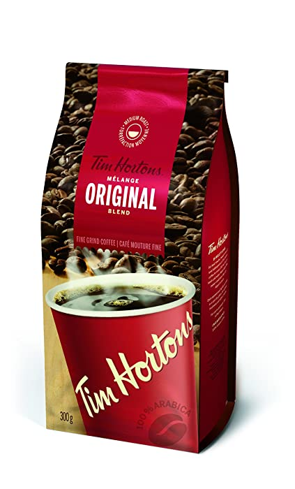 Tim Hortons Original Coffee, Fine Grind Bag, Medium Roast, 300g (Imported from Canada)